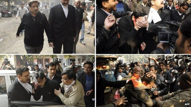 This combo picture shows (from top L-R) Dr Rajesh Talwar as he arrives in court and the attack on him on 25 January 2011