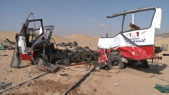 Wrecked minibus