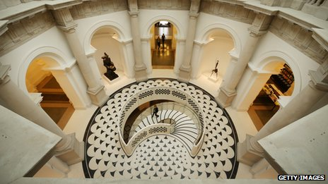 View of spiral staircase from above