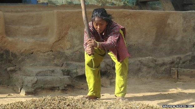 Manju pounding millet