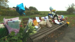 Floral tributes at the scene of Nathan Smith's death