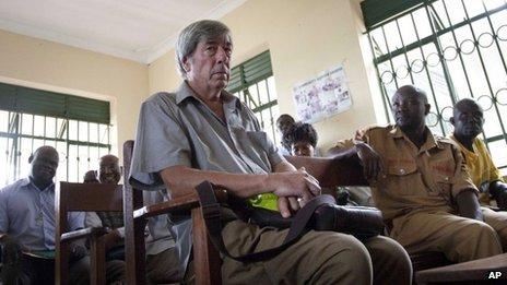 Bernard Randall in court in Uganda