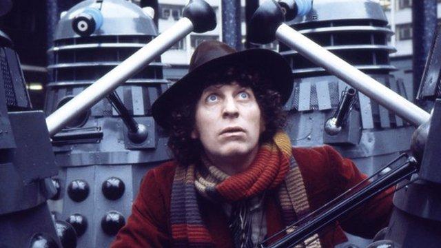 Tom Baker with Daleks in 1975
