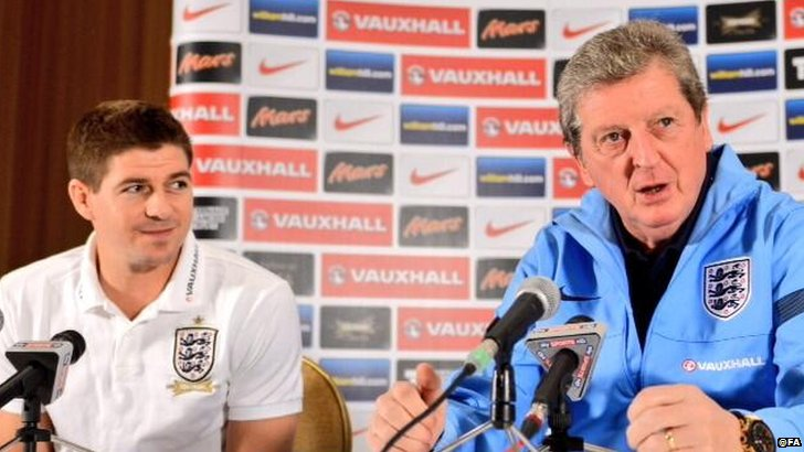 England manager Roy Hodgson with captain Steven Gerrard