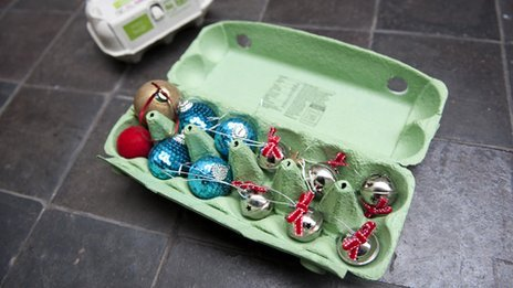 Baubles in egg box