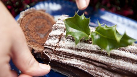 Cutting a yule log