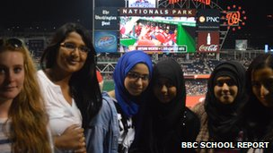 Students at baseball match