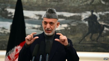 The Afghan president, Hamid Karzai, addresses a press conference in Kabul on 16 November.