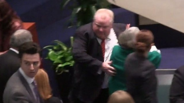 Rob Ford knocks accidentally knocks over Pam McConnell