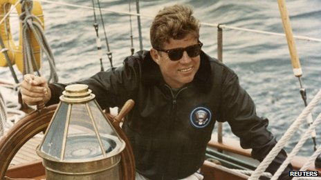 John F Kennedy on the US Coast Guard yacht Manitou off the coast of Maine on 12 August 1962