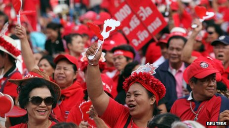 Red-shirted supporters of Mr Thaksin at a rally in Rajamangala national stadium in Bangkok, Thailand, 19 November 2013