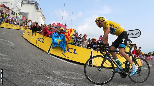 Chris Froome climbing Mont Ventoux during the 2013 Tour de France