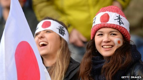 Japan fans in the crowd during the Scotland v Japan Autumn International Series Match at Murrayfield Stadium in November