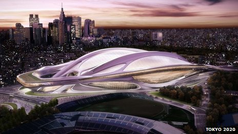 Artist image shows the proposed new National Stadium in Tokyo