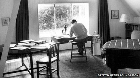 Britten in his studio