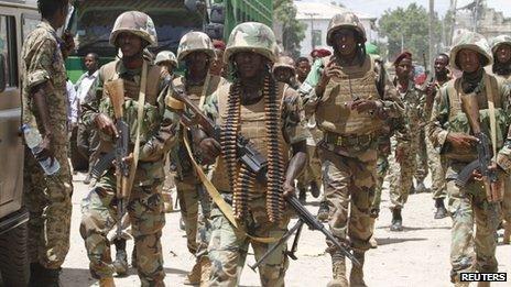 Djiboutian African Union troops in Beledweyne, Somalia