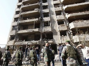 Blast damage at scene of twin explosions in southern Beirut on Tuesday