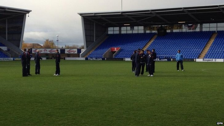 England Under-21 players at Shrewsbury Town