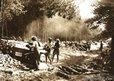 Lumberjills operating a portable Liner saw, 1945