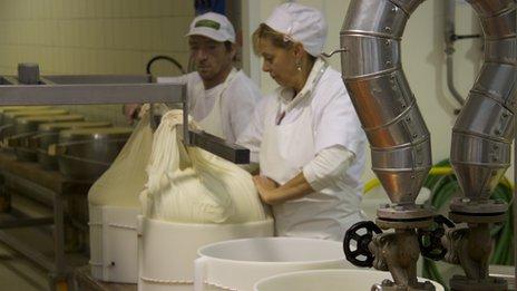 Ilaria Bertinelli making cheese