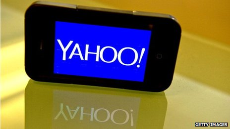 Yahoo logo on smartphone