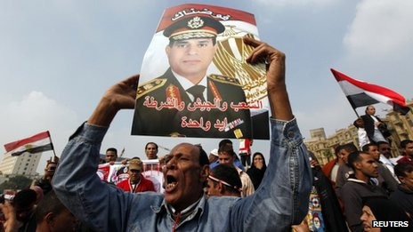 A supporter of Egypt's army chief General Abdel Fattah al-Sisi holds up a poster of him at Tahrir Square, Cairo, November 19, 2013