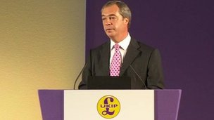 UKIP leader Nigel Farage addressing its party conference