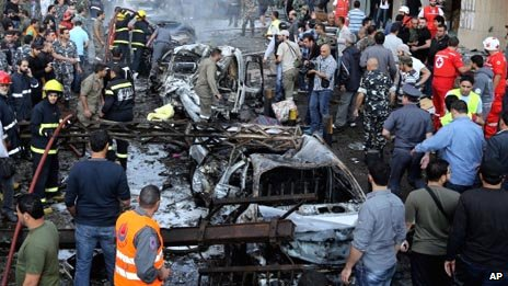 Scene of two explosions near the Iranian Embassy in Lebanon