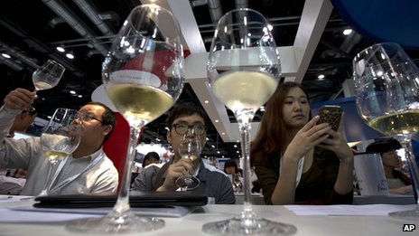 Wine drinkers in Beijing