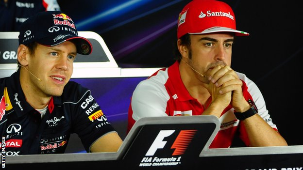 Sebastian Vettel (left) and Fernando Alonso