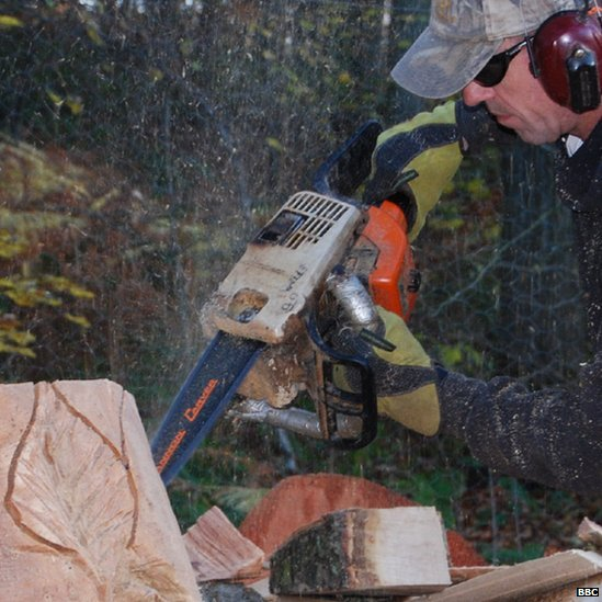 Chainsaw wood sculptor transforms trees felled by wind