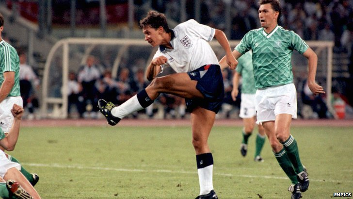 Gary Lineker scores for England against West Germany in the 1990 World Cup semi-final