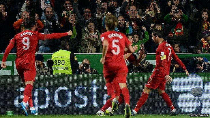 Cristiano Ronaldo scores for Portugal