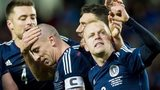 Scotland players celebrate Scott Brown's goal against Norway