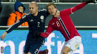 Scotland's Alan Hutton and Norway's Morten Gamst Pedersen