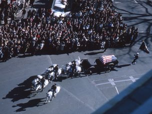 JFK's funeral procession from above