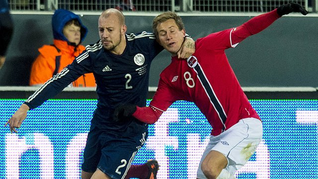 Scotland defender Alan Hutton wrestles it out with Morten Gamst Pedersen