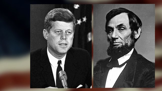 Composite image with portraits of JFK and Abraham Lincoln
