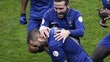 France celebrate Karim Benzema's goal