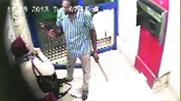 CCTV footage of the man attacking Jyothi Uday in a cash machine kiosk in Bangalore, 19 November 2013