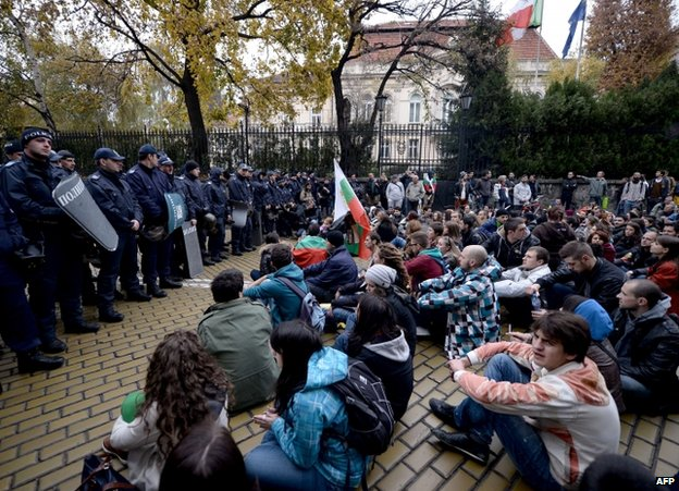 Protesters face police in Sofia, 13 November