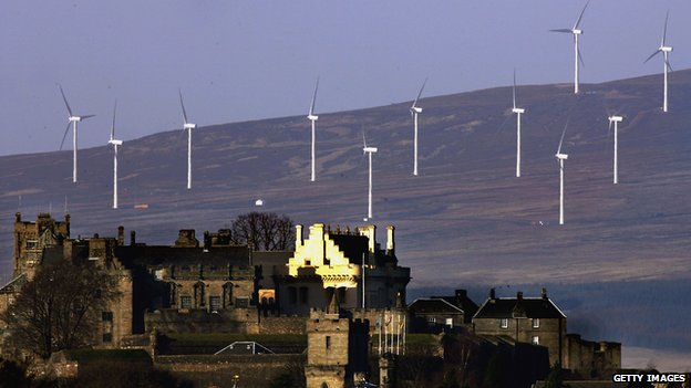Wind turbines near Stirling Castle