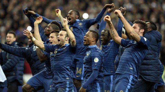France celebrate their 3-0 win over Ukraine