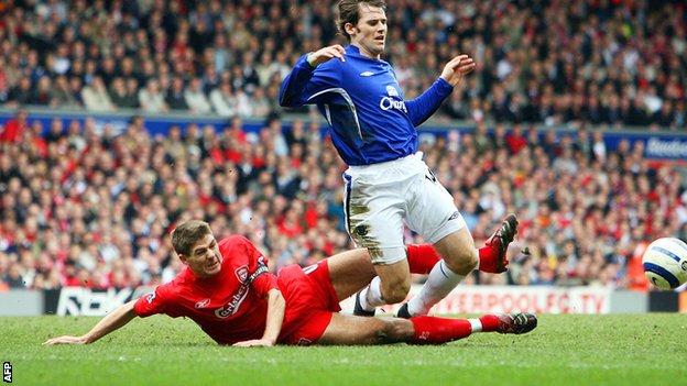 Liverpool's Steven Gerrard tackles Everton's Kevin Kilbane
