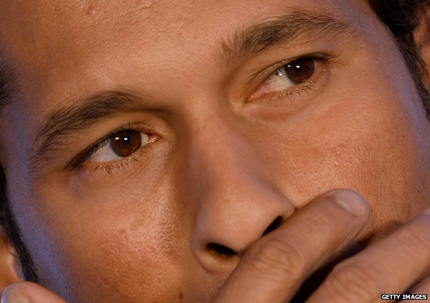 Close up of Indian cricket legend Sachin Tendulkar