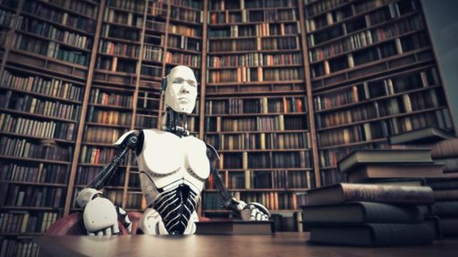 Robot sitting in a library
