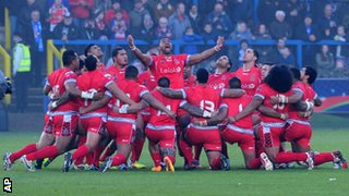 Tonga perform their haka