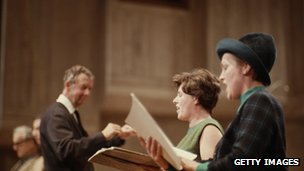 Benjamin Britten conducting opera singers Heather Harper and Josephine Veasey