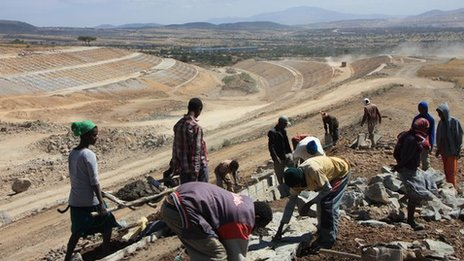Labourers working on the new train line in Ethiopia