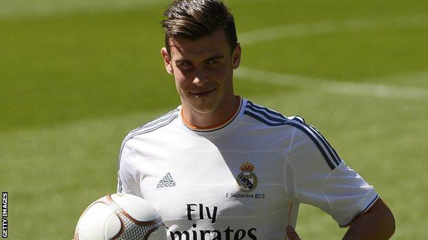 Gareth Bale in a Real Madrid shirt